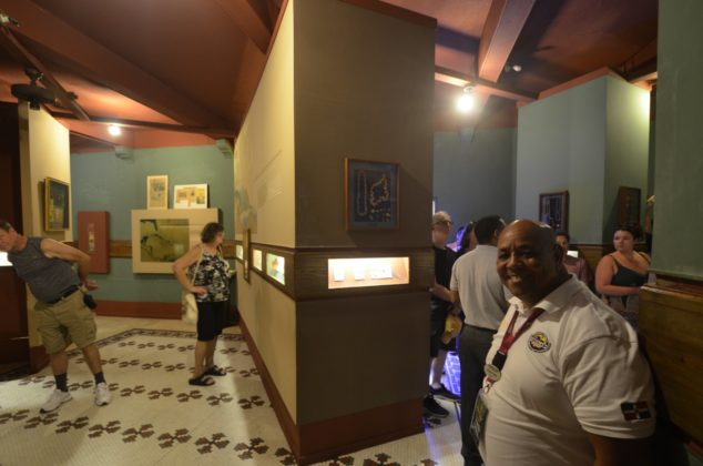 Carnival cruise visitors in the museum