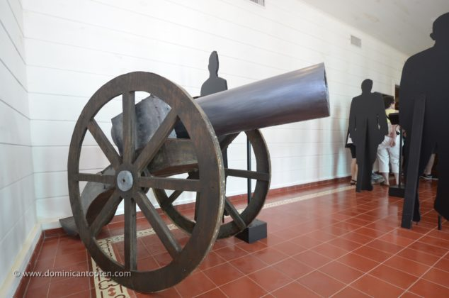 A board made cannon resembles a real one in room one