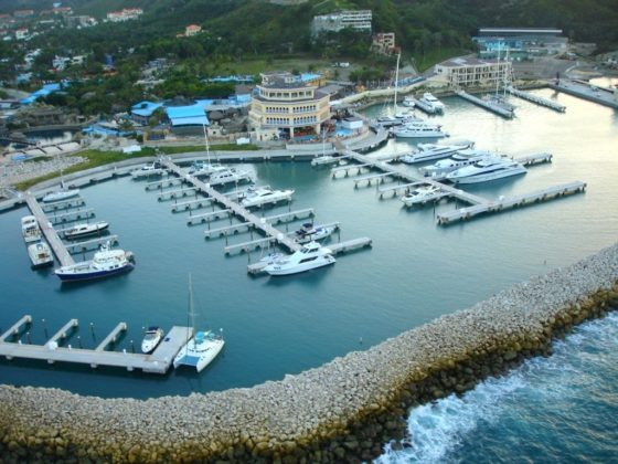 aerial view of the marina at ocean world cofresi