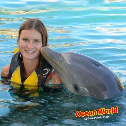 Dolphin kisses a girl