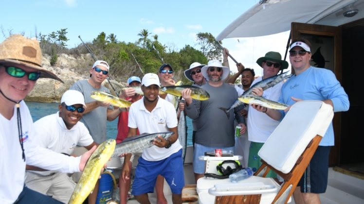 Men happy after a long fishing tour