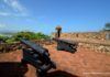 cannons flank the upper terrace at San Felipe Fortress in Puerto Plata