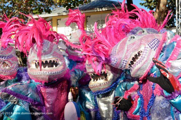 shark masked dancers