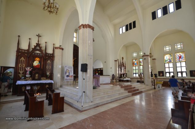 Chiseled pillars support the arched thresholds inside the domed cathedral of Saint Phillip, Puerto Plata
