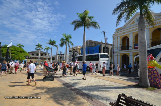tourists visiting the independence plaza outside san felipe