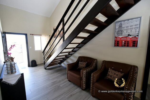 wooden and metal staircase